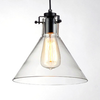 Vintage Funnel Pendant Lights Clear Glass Lamshade Loft Pendant Lamps E27 For Dinning Room Home Dcoration