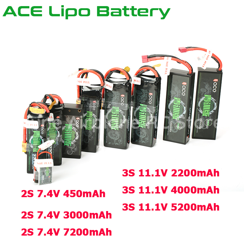 ACE Lipo Battery 7.4V 2S 450mAh 3000mAh 7200mAh 11.1V 3S 2200mAh 2600mAh 4000mAh 5200mAh For Rechargeable Lipo Battery RC Car