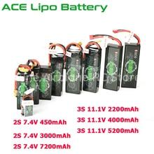 ACE Lipo Battery 7.4V 2S 450mAh 3000mAh 7200mAh 11.1V 3S 2200mAh 2600mAh 4000mAh 5200mAh for Rechargeable Lipo Battery RC Car