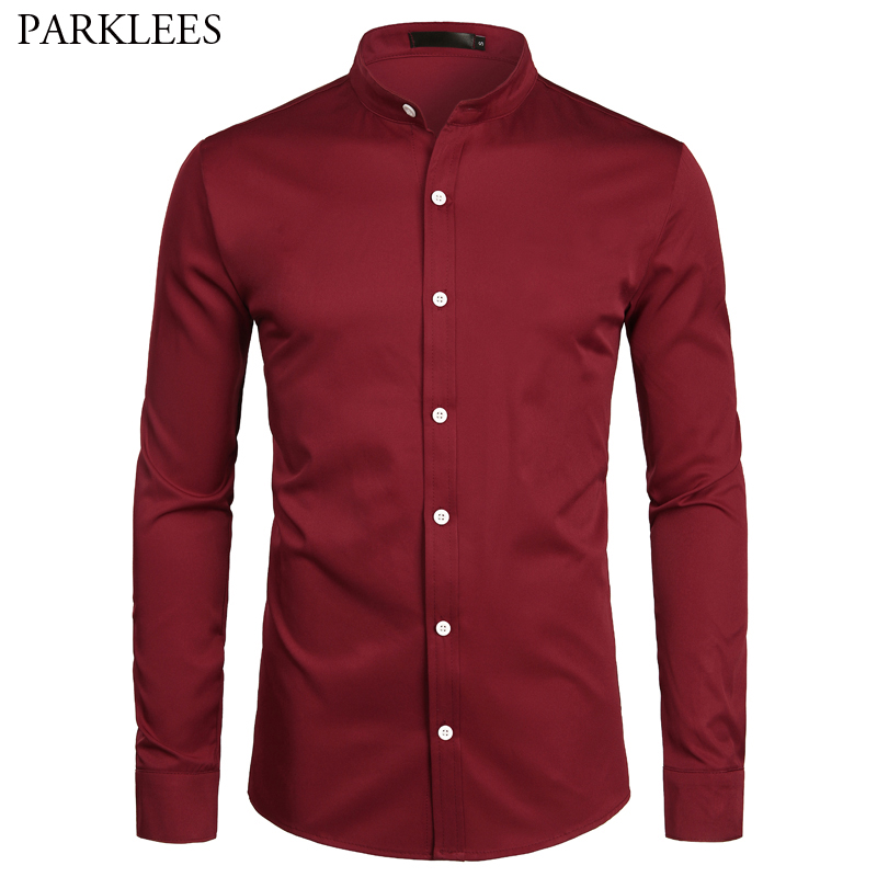 Wine Red Slim Fit Dress Shirts Men Brand Banded Collar Long Sleeve Chemise Homme Casual Button Down Shirt For Busienss Men S-2XL