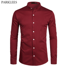 Wine Red Slim Fit Dress Shirts Men Brand Banded Collar Long Sleeve Chemise Homme Casual Button Down Shirt for Busienss Men S 2XL