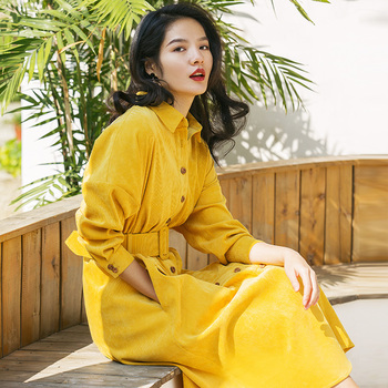 Corduroy dresses female fashion temperament of restoring ancient ways the new spring 2019 yellow blue long-sleeved shirt dress