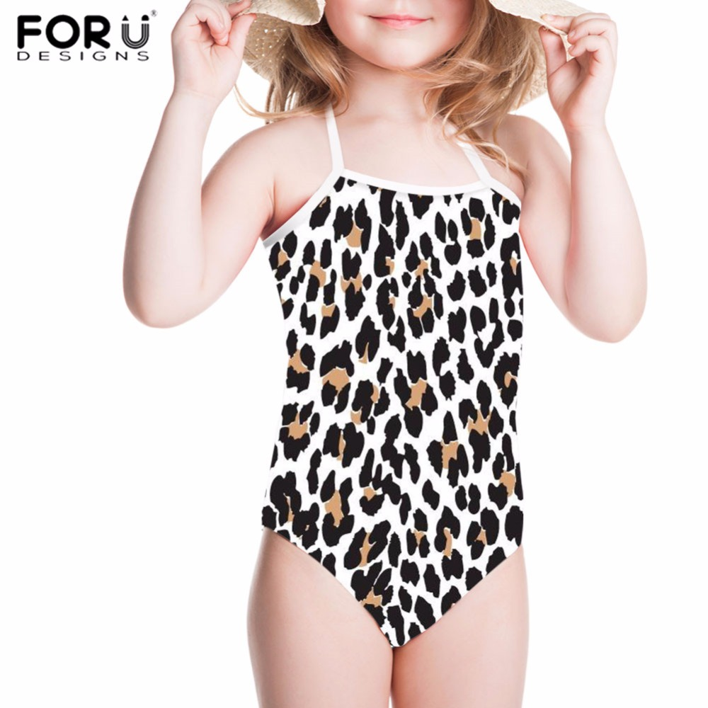 FORUDESIGNS One Piece Swimsuit Girls Swimwear Children Funny Leopard 3D Printing Bathing Suit Kids Baby Beachwear Swimming Suits forudesigns one piece swimsuit for girls children swimwear friuts strawberry printing bathing suit baby bikinis kids swim suits