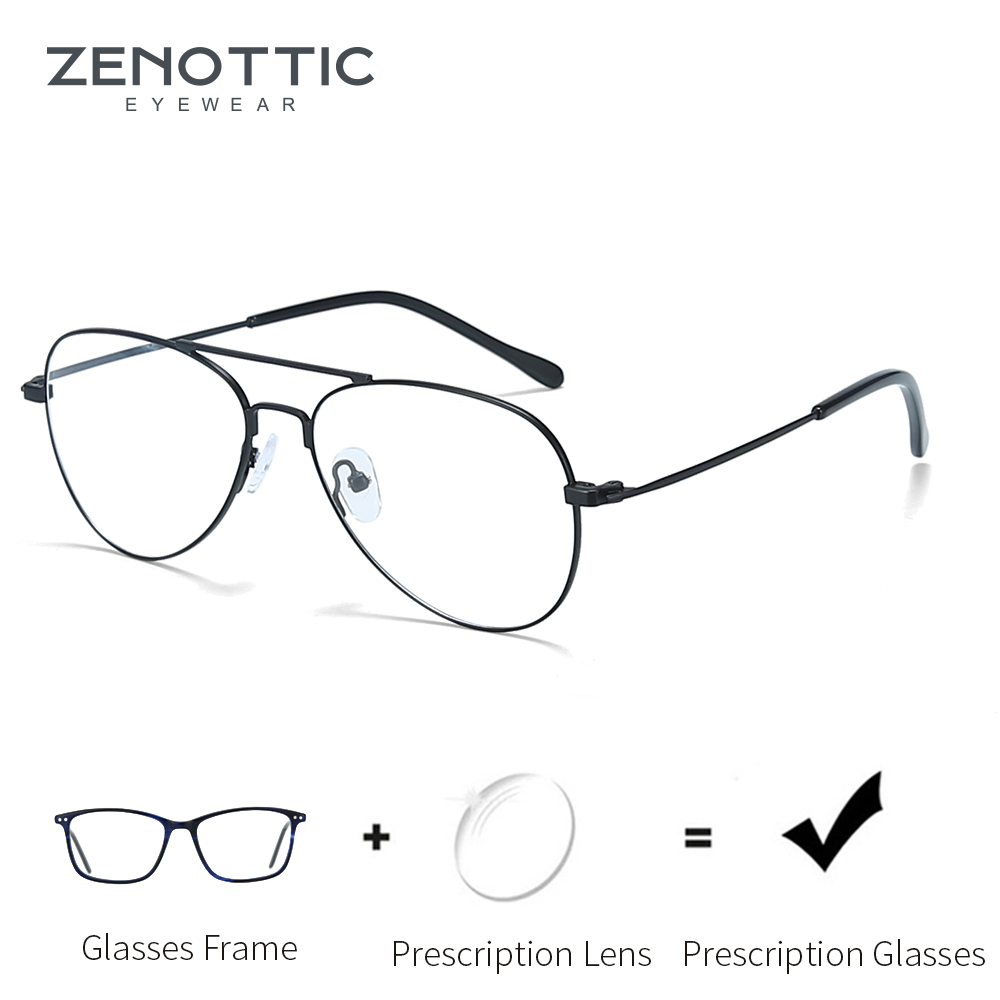 ZENOTTIC Light Prescription Glasses Men Optical Myopia Eyeglasses Metal Fashion Design Pilot Spectacles Man Eyewear 2019 BT2112(China)