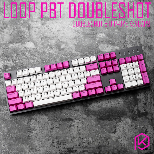 loop pbt doubleshot keycaps oem profile for mechanical keyboards white  purple gh60 poker 87 tkl 104 108 ansi corsair k70 iso