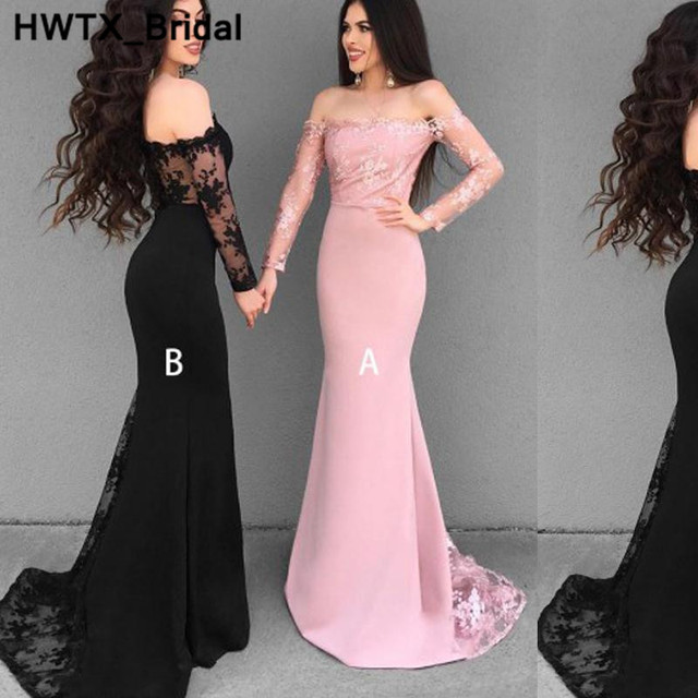 Gorgeous Black Lace Bridesmaids Dresses For Women 2018 Sexy Strapless  Mermaid Wedding Party Dress Long Formal Prom Party Gowns 78e5157898db