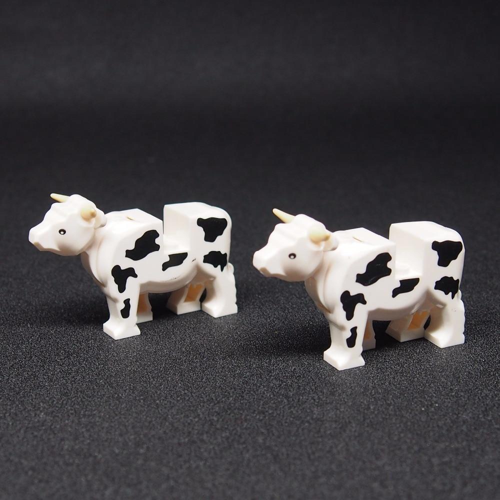 MOC Cows Farm Mini Building Blocks Figures City Street Animal Poultry Plant Grass DIY Toys For Children Best Gift