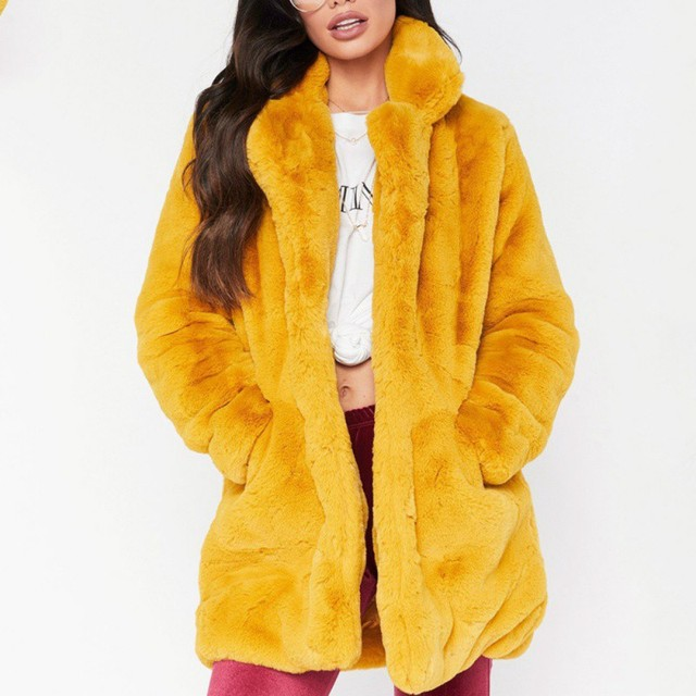 beb76bbfe33 Faux Fur Coat Women Long Sleeve Thick Warm Flurry Jackets Plus Size Coat  Winter Black Yellow