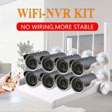 8CH 1080 P HD WiFi NVR 8 шт. 2MP IR Открытый Всепогодный видеонаблюдения беспроводная ip-камера безопасности Система видеонаблюдения комплект ip-камера