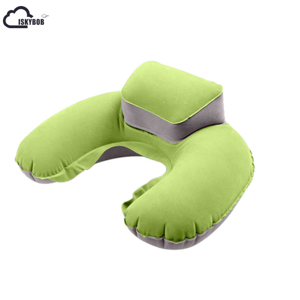 2017 Portable Travel Inflatable Neck Pillow U Shape Blow Up Neck Cushion PVC Flocking Pillow For Flight Travel Accessories