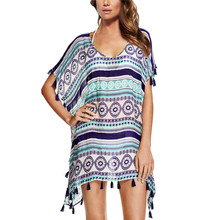Chiffon Beach Tunic Loose Printed Dress 2016 Summer Style Women O-Neck Short Sleeve Tassel Mini Dresses