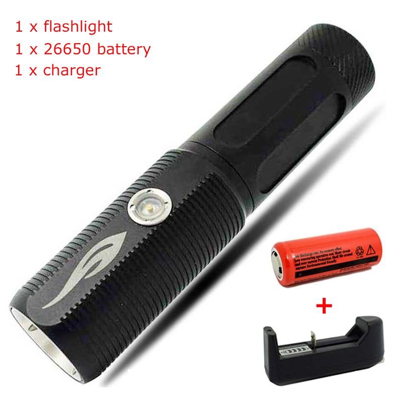 Rechargeable Flashlight Portable Zoomable Lights 3 Modes 1200LM XM-L2 LED 26650 Flashlight Powerbank Function Led Torch