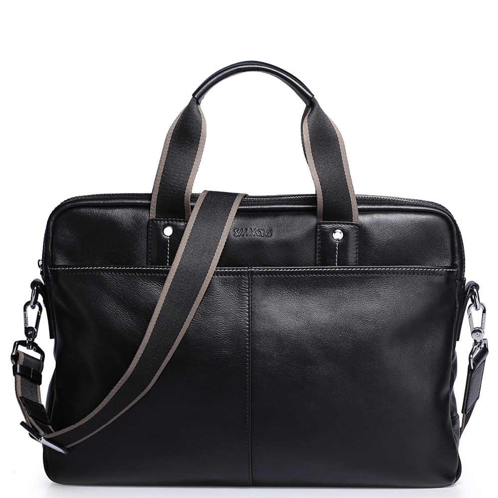 2016 New Men's Genuine Full Grain Leather Black Top Handle Tote Business Bag Work Briefcase Casual Crossbody Strap Shoulder Bag