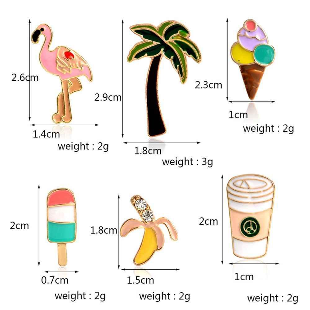 1PC Banana Lolly Flamingo Palm tree Cup Pins Brooches Badges Hard enamel lapel pin Hat Bag Jeans Pins Backpack Badges