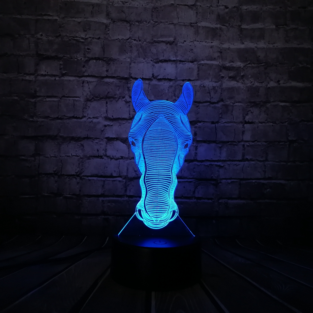 Novelty Table Lamp Animal Luces Horse Head 3D Lamp Night Light Switch Touch Remote Projection Luminaria 3D LED Desk Decor Home 3d led night light gear love heart usb touch switch steampunk style heart table lamp luminaria de mesa home decor gift toy