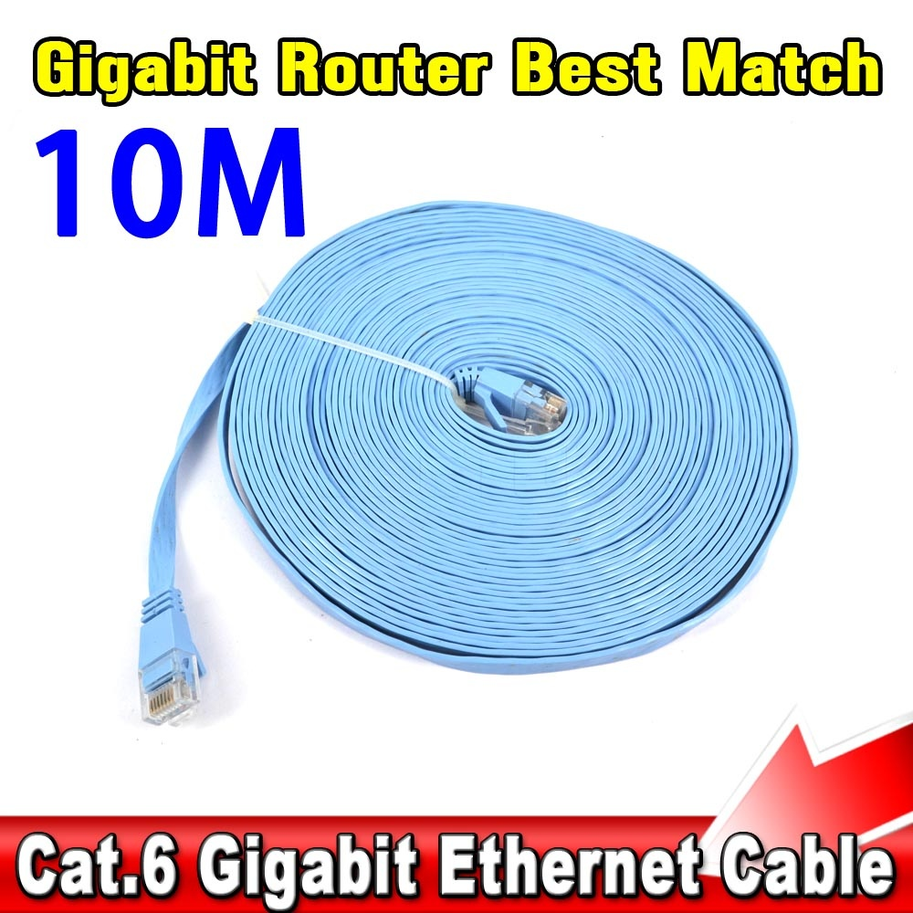 CAT6 RJ45 Network Cable Flat UTP 10/100/100 Mbps Ethernet Network Cable 10G Base 32AWG Bare Copper For Router DSL Modem Laptop