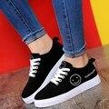 Женщины высокое качество черный платформы обувь zapatos де mujer леди прохладно высокое качество холст обувь подросток студент школы обувь
