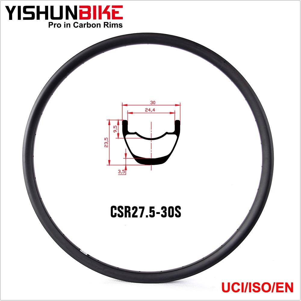 Yishunbike 27.5er Tubeless Mountain Bike Rims Carbon MTB Bicycle Rims For AM UD Matte 32H 1 piece AM650B-30 carbon mtb rims 650b carbon mountain bike rim 27 5er bike bicycle carbon fiber tubeless 35mm width rims