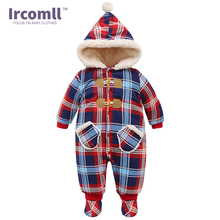 New Year Christmas Newborn Baby Winter Rompers England Style For 0-18 Months Plaid Jumpsuit Thickening Cotton Kids Infant Cloth