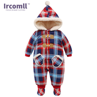 New Year Christmas Newborn Baby Winter Rompers England Style For 0 18 Months Plaid Jumpsuit Thickening Cotton Kids Infant Cloth