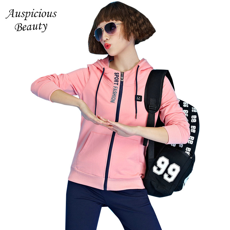 Spring Tracksuit Long Sleeve Casual Women 2 Piece Set Top+Pants Sporting Suit Sweatshirt Zipper Hoodies Track Suit Female SXM160