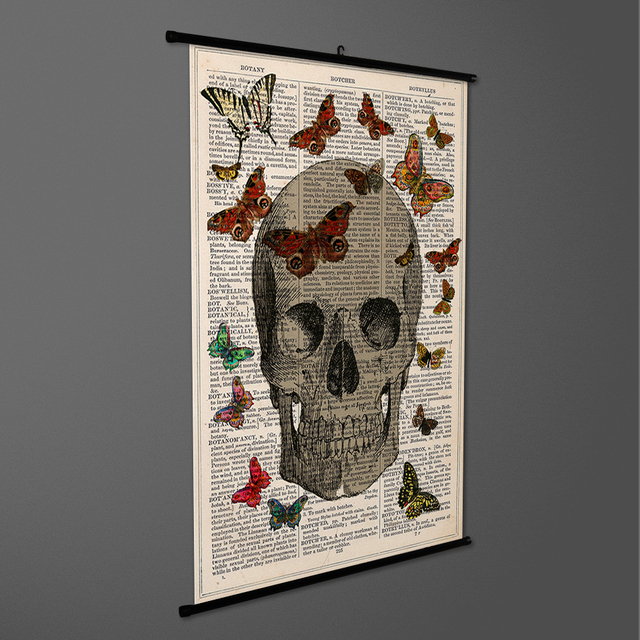 Canvas Art Skull Butterfly Old Newspaper Wall Scroll Painting Art ...