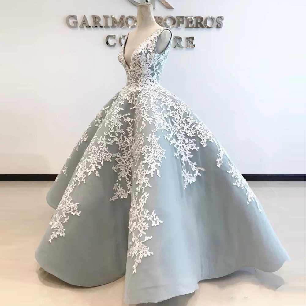 Top Qualität Silber Ballkleid Formale Kleid Spitze Applique Lange Prom  Kleider Elegante V-ausschnitt Abend Tragen Vestido de festa gala jurken
