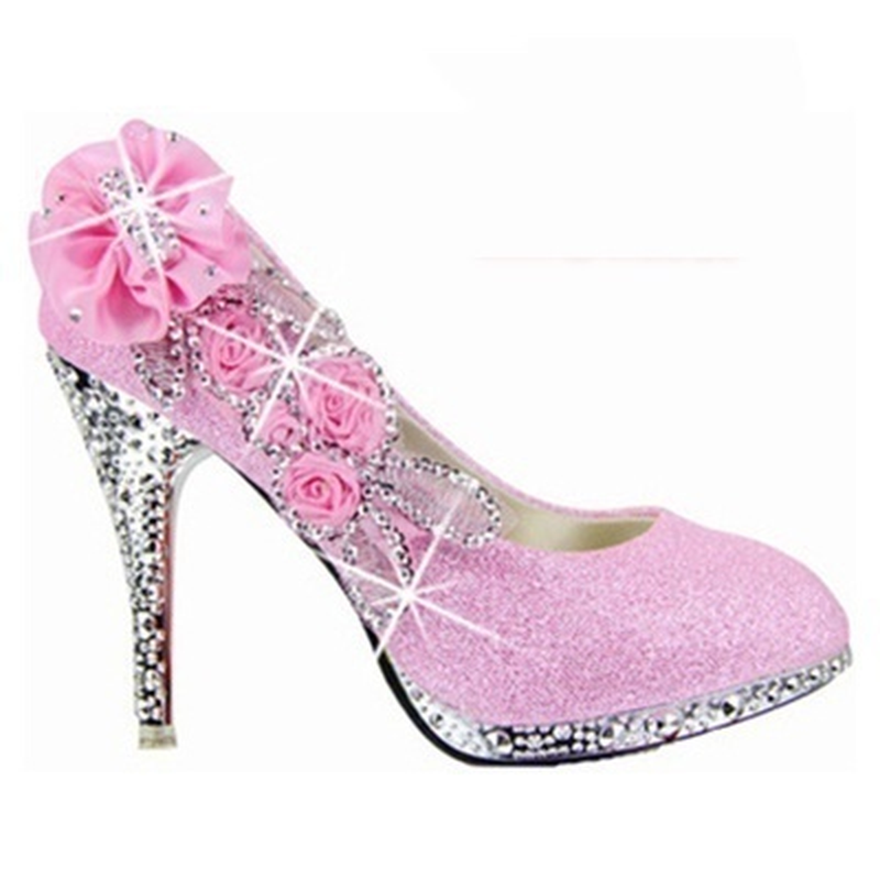 Wedding Shoes Bridal Pumps Women Girl Platform Crystal Rose Flower Evening Party Shoes Red Bottom High Heels 2019 Fashion Woman in Women 39 s Pumps from Shoes