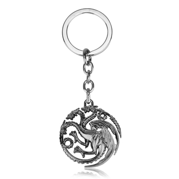 Movie Seriers Game of Throne House Stark keychain 3 Colors Alloy The Song Of Ice and Fire Targaryen Dragon Badges Keyring Gift