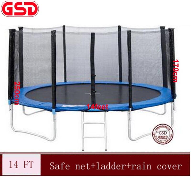 GSD wysokiej jakości 14 stóp trampolina z bezpieczną netto i podkładka bezpieczeństwa i drabiny i osłona przeciwdeszczowa, TUV-GS, CE, EN71 został zatwierdzony