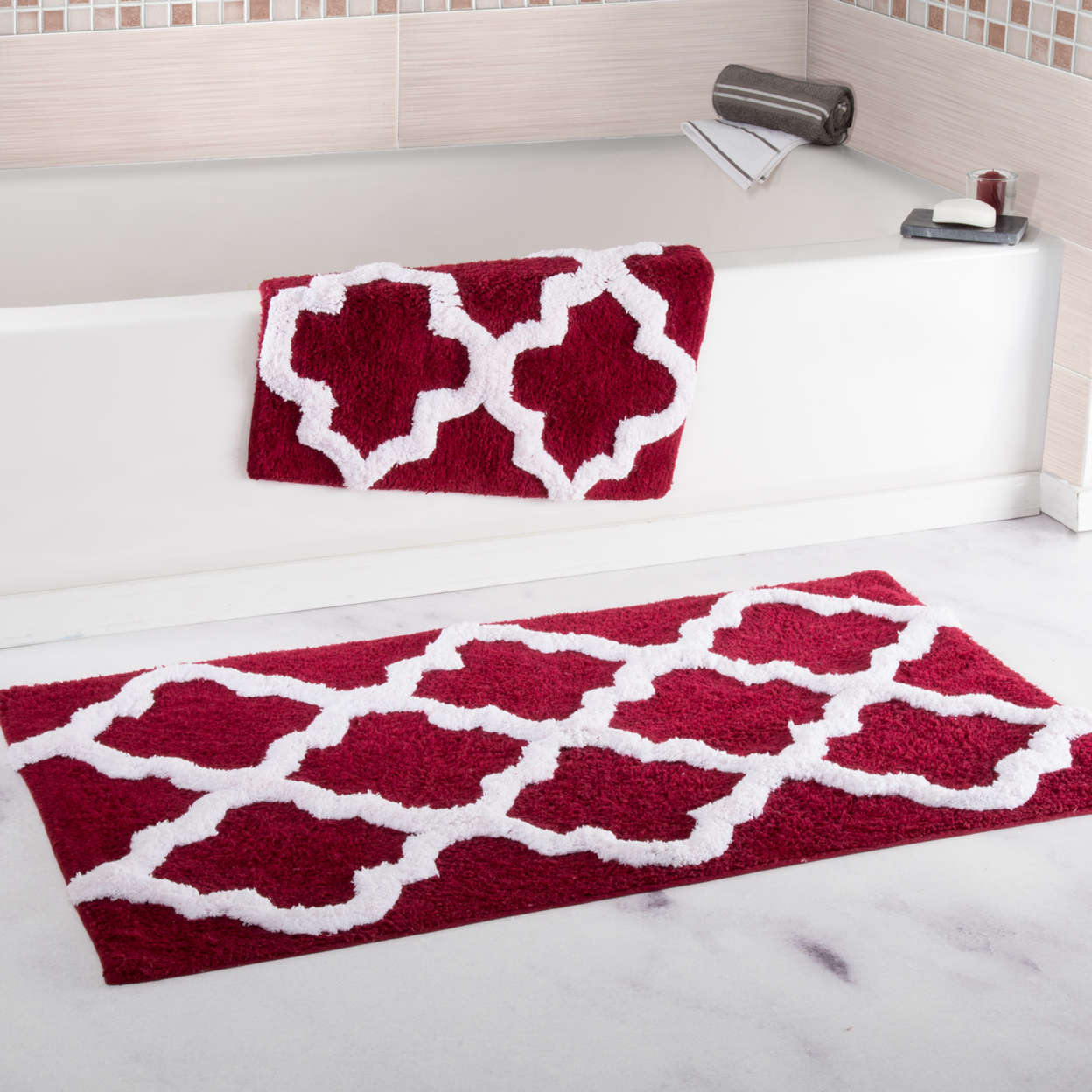 Lavish Home 100% Cotton 2 Piece Trellis Bathroom Mat Set - Burgundy (1)