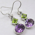 Silver Real PERIDOT & AMETHYST 2 STONE HOT Trendy Earrings 3.4 CM