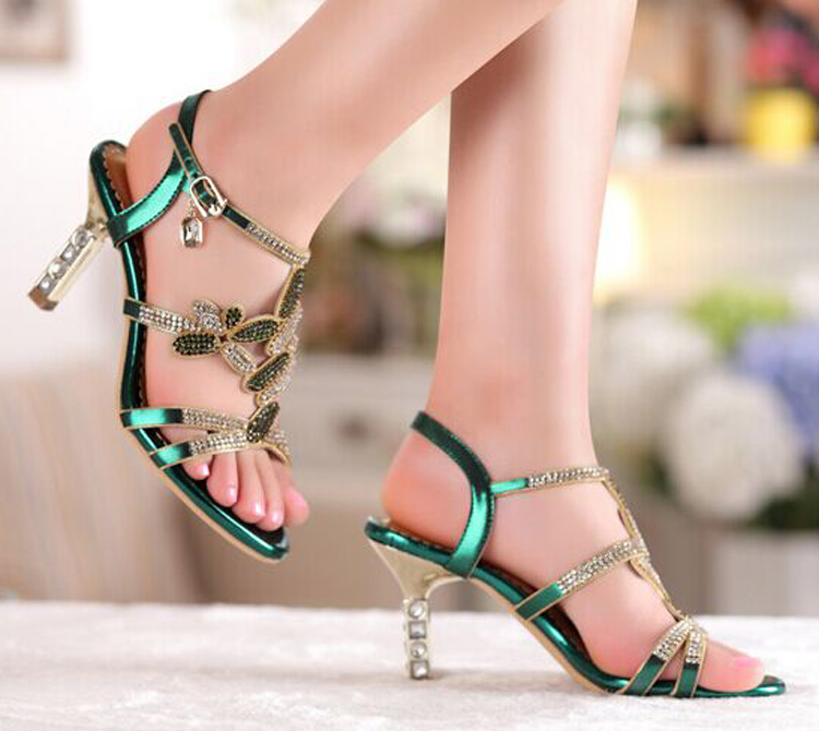 ФОТО New Sandal Floral Crystal Rhinestones High Heels Prom Evening Party Shoes Dress For Women Lady Bridal Wedding Shoes