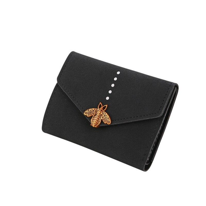 2018  Women Bee Hasp Short Wallet Coin Purse Card Holders Handbag Casual Hasp Dropship 180223 casual weaving design card holder handbag hasp wallet for women