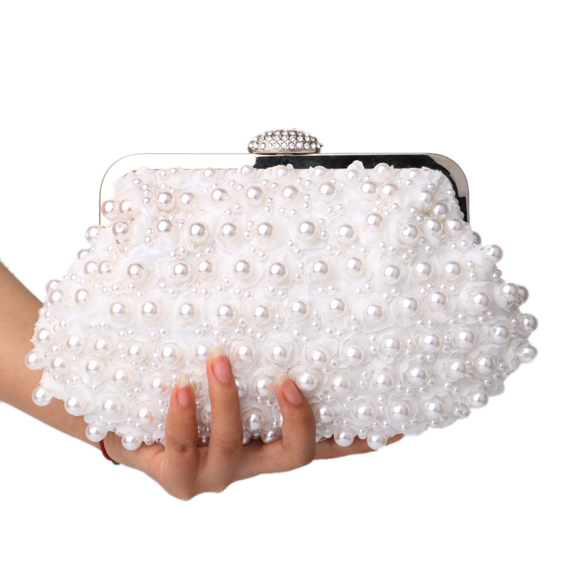 Clutch women bags beaded evening bags pearl evening bags shell shaped wedding bridal evening dress purse bags for wedding/party