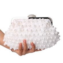 Torebki damskie sprzęgła zroszony torebki wieczorowe perłowe torby wieczorowe powłoki w kształcie ślubny Suknie ślubne torebki wieczorowe na wesele imprezę tanie tanio Interior Compartment Moda YM1008 Diamonds Beading Chains Kobiet Poliester Evening Bags Hasp SEKUSA Stałe Miękkie Pojedynczy