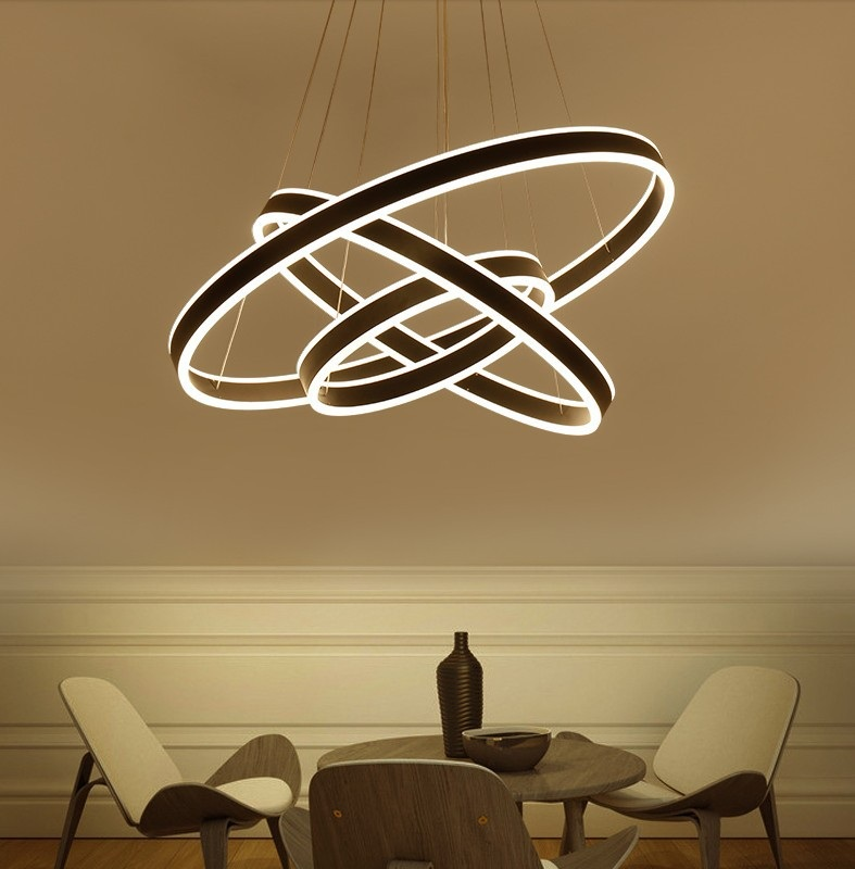 Modern living room chandelier dining room bedroom led chandelier acrylic light dimmer circular ring creative ChandelierAC85-265V