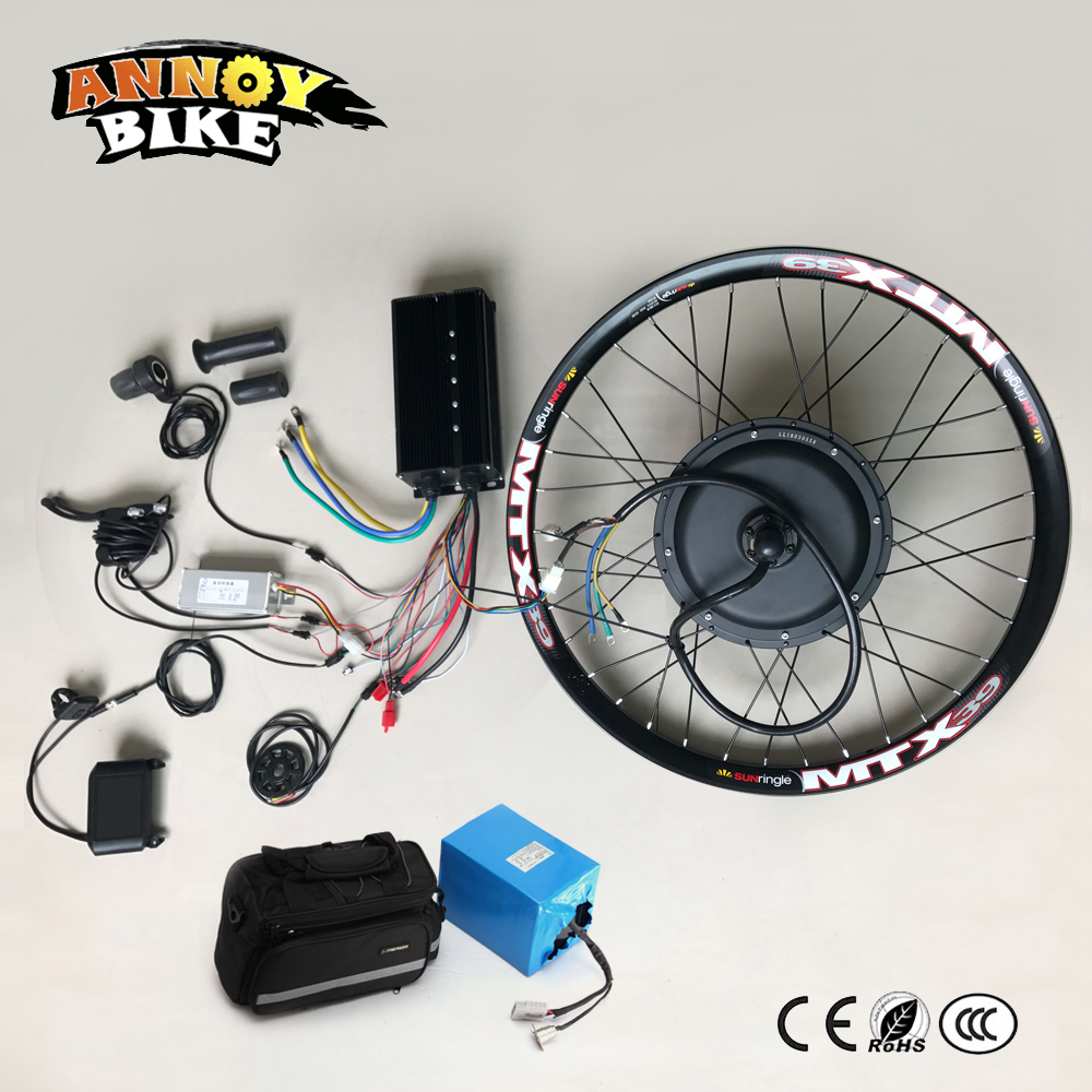 Electric Bicycle 72V3000W Motor Wheel With Battery 24 26 70km/h Ebike Kit Electric Bike Conversion Kit For Electric Bike dpx 2 s zs 14 vibration eco friendly transit 72v3000w electric horizon large car electric bicycle