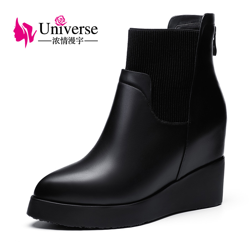 Universe Wedge Heel Genuine Leather Ankle Boots Warm Short Plush Insole Solid Rubber Black Winter Boots Women Shoes C198 hot sale motorcycle accessories rear brake reservoir cover gold for kawasaki z250 z750 z800 z1000 z1000sx