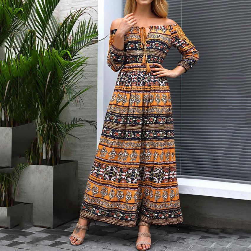 2018 Autumm New Ladies Print Dresses Casual  Slash Neck Loose Dress Beach Party Wear Women's Clothing Female 18August11