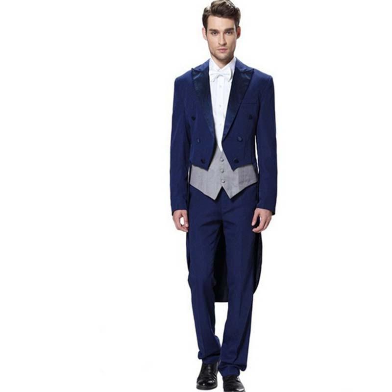 (Jacket+Vest+Pants) 2017 New Long Mens Suits Blazer terno Royal Blue Groom Suit Tailcoat wedding suits for men Tuxedos Prom Wear