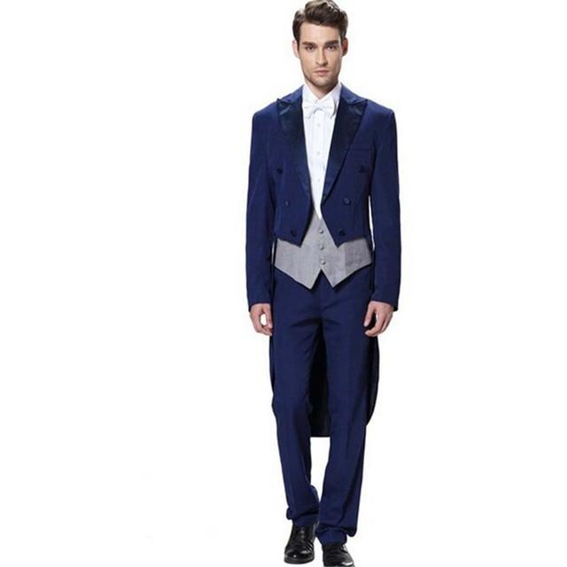 37ed091238a8 € 63.35 16% de DESCUENTO|(Chaqueta + chaleco + Pantalones) 2017 nuevos  trajes largos para hombre Blazer terno azul real traje de novio trajes de  ...
