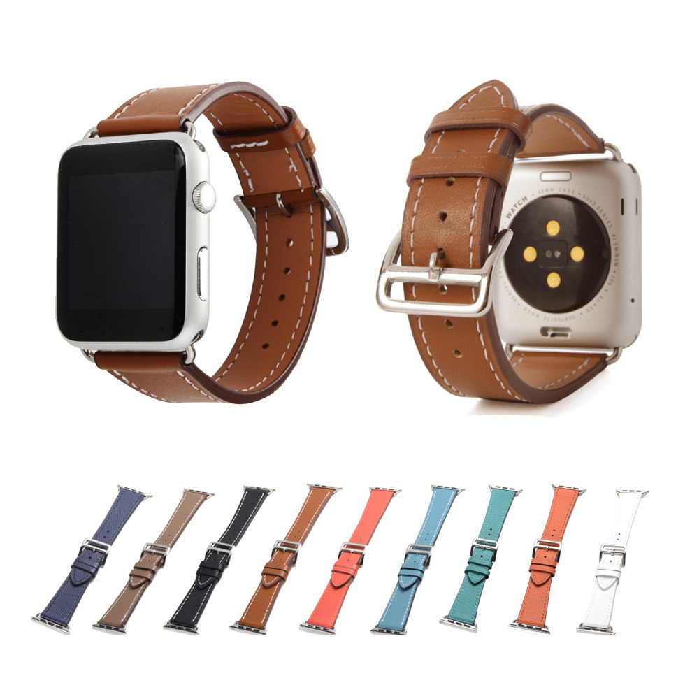 Luxury Litchi Real Genuine Leather Watch Band Single Tour Strap for Apple Watch band 42/38mm for iwatch 1 2 3 istrap black brown red france genuine calf leather single tour bracelet watch strap for iwatch apple watch band 38mm 42mm