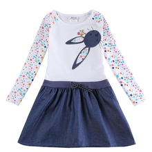 Girls long-sleeved dress spring autumn cotton embroidered white rabbit girl child wearing denim hem dress H5922