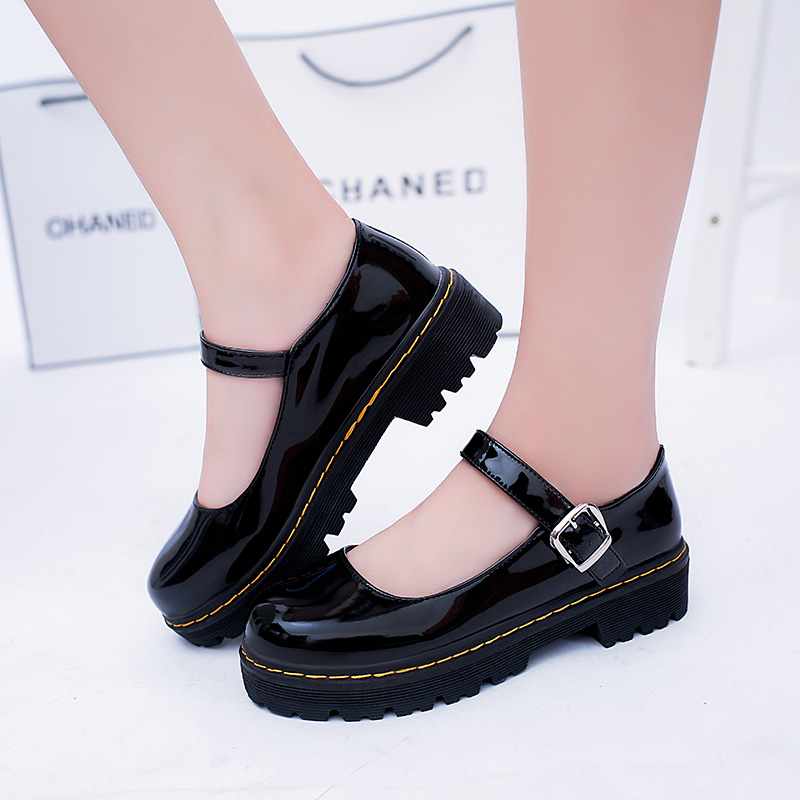 Japanese Student Lolita Shoes Girl Student Shoes JK Commuter Uniform PU Leather Shoes Platform Shoes