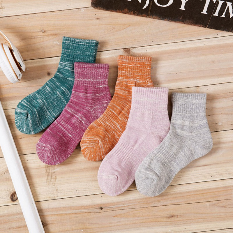 Winter Cotton Solid Woman Retro Socks Female Student Thick Warm Socks 5 Colors