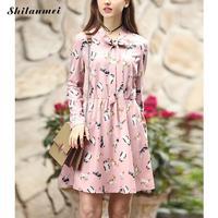 3XL 4XL 5XL Pink Cat Print Dress Women One Piece V Neck Long Sleeves Bow Short