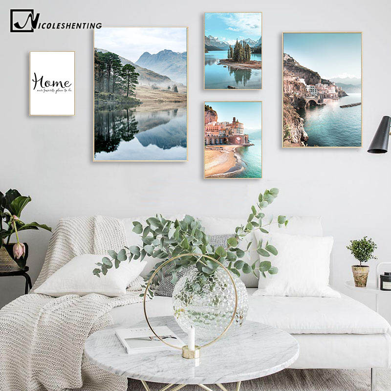 Mountain Lake Reflection Picture Nature Scandinavian Poster Nordic Decoration Coastline Cityscape Print Wall Art Canvas Painting