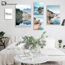 Montaña lago reflejo imagen naturaleza póster escandinavo decoración nórdica Costa paisaje urbano impresión pared arte lienzo pintura