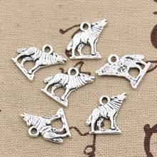 50 pçs encantos uivando lobo 15x15mm pingente artesanal que faz o ajuste, tibetanbronze vintage, diy para pulseira colar
